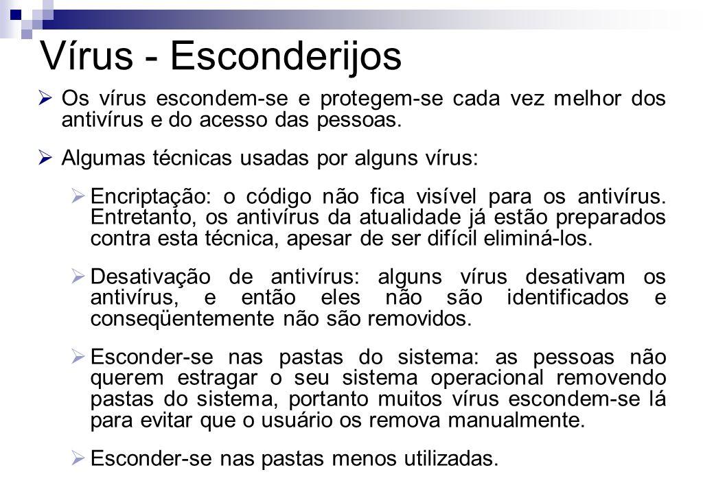 Os vírus escondem-se e protegem-se cada vez melhor dos antivírus e do acesso das pessoas. Algumas técnicas usadas por alguns vírus: Encriptação: o cód