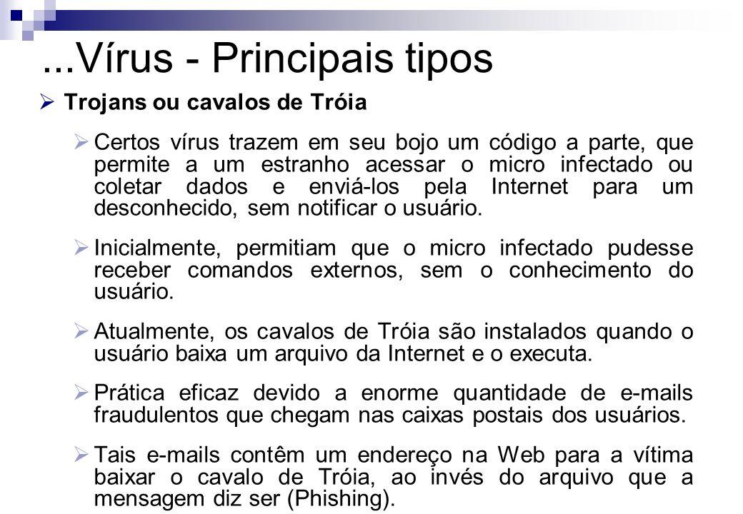 Trojans ou cavalos de Tróia Certos vírus trazem em seu bojo um código a parte, que permite a um estranho acessar o micro infectado ou coletar dados e