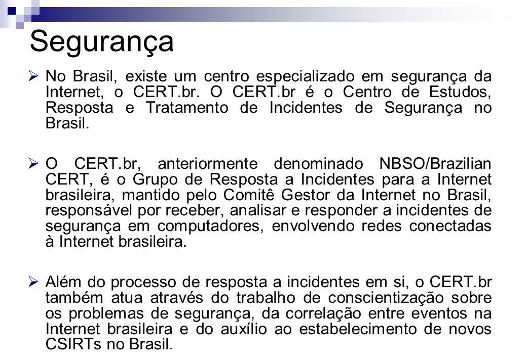 No Brasil, existe um centro especializado em segurança da Internet, o CERT.br. O CERT.br é o Centro de Estudos, Resposta e Tratamento de Incidentes de