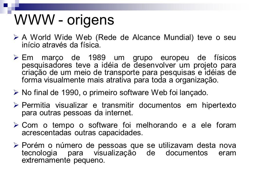 A World Wide Web (Rede de Alcance Mundial) teve o seu início através da física. Em março de 1989 um grupo europeu de físicos pesquisadores teve a idéi