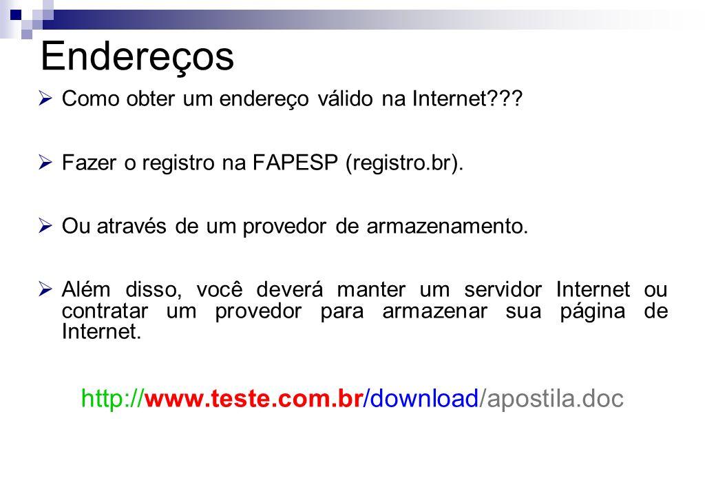 Como obter um endereço válido na Internet??? Fazer o registro na FAPESP (registro.br). Ou através de um provedor de armazenamento. Além disso, você de
