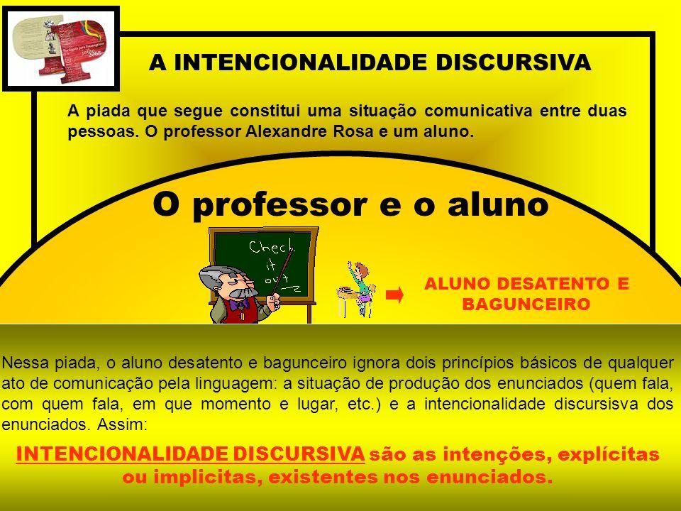 A INTENCIONALIDADE DISCURSIVA A piada que segue constitui uma situação comunicativa entre duas pessoas. O professor Alexandre Rosa e um aluno. O profe