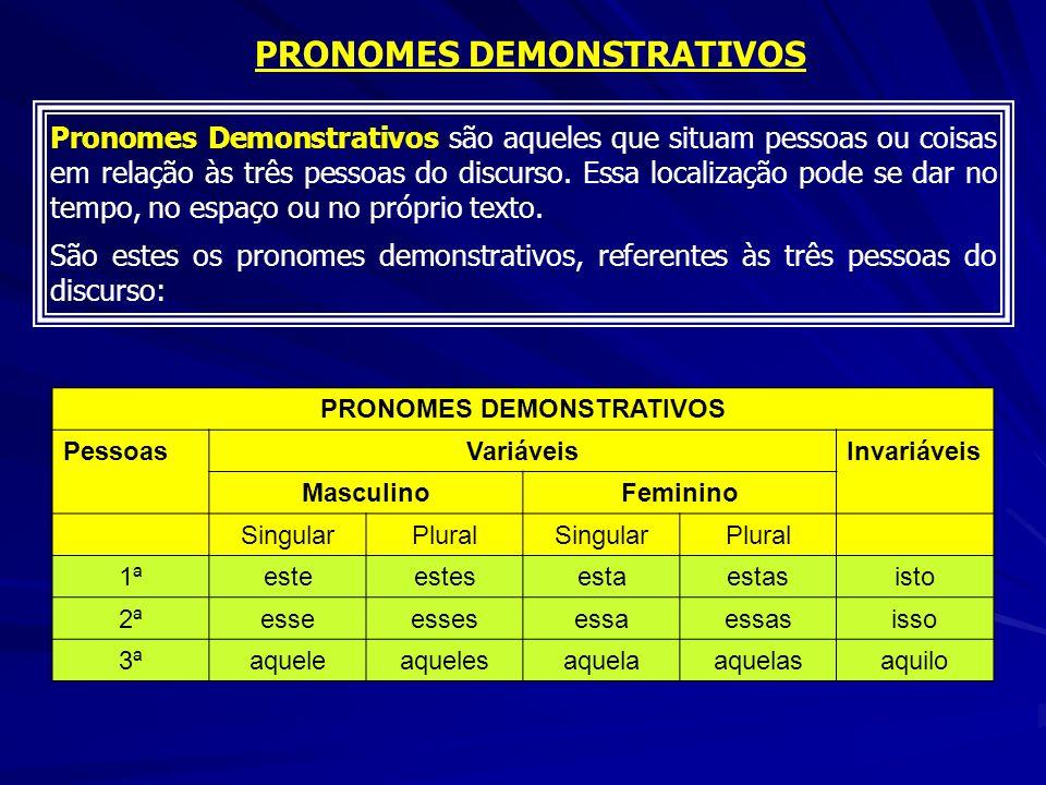 Pronomes Demonstrativos são aqueles que situam pessoas ou coisas em relação às três pessoas do discurso. Essa localização pode se dar no tempo, no esp