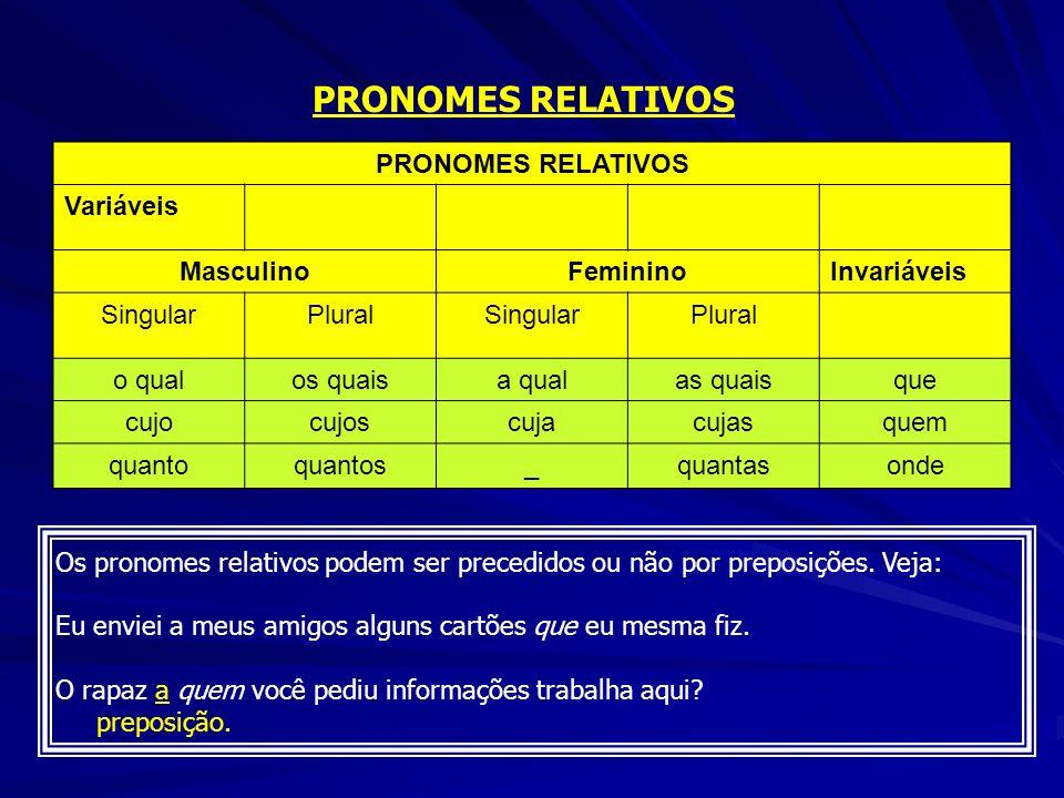 PRONOMES RELATIVOS Variáveis MasculinoFemininoInvariáveis SingularPluralSingularPlural o qualos quaisa qualas quaisque cujocujoscujacujasquem quantoqu