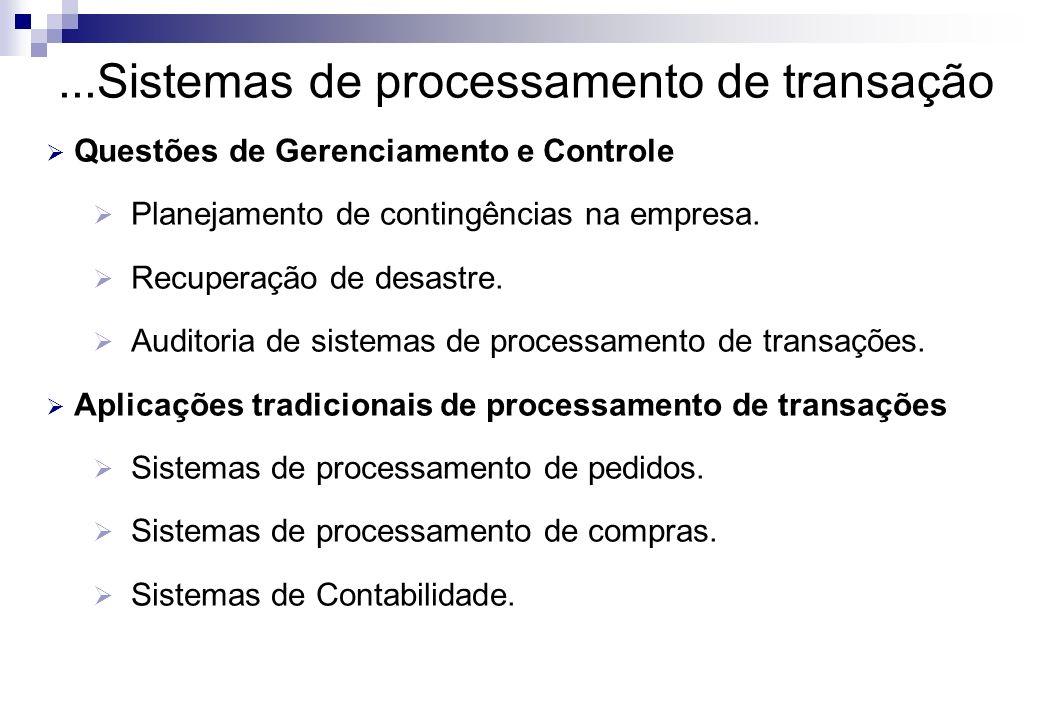 ...Sistemas de processamento de transação Questões de Gerenciamento e Controle Planejamento de contingências na empresa. Recuperação de desastre. Audi
