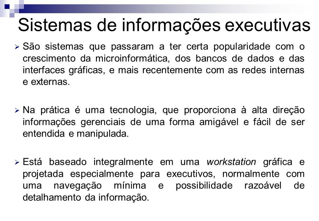 Sistemas de informações executivas São sistemas que passaram a ter certa popularidade com o crescimento da microinformática, dos bancos de dados e das