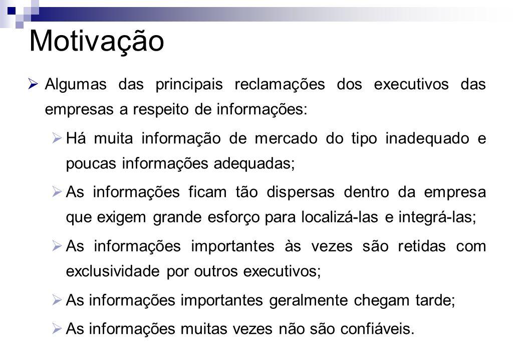 Algumas das principais reclamações dos executivos das empresas a respeito de informações: Há muita informação de mercado do tipo inadequado e poucas i