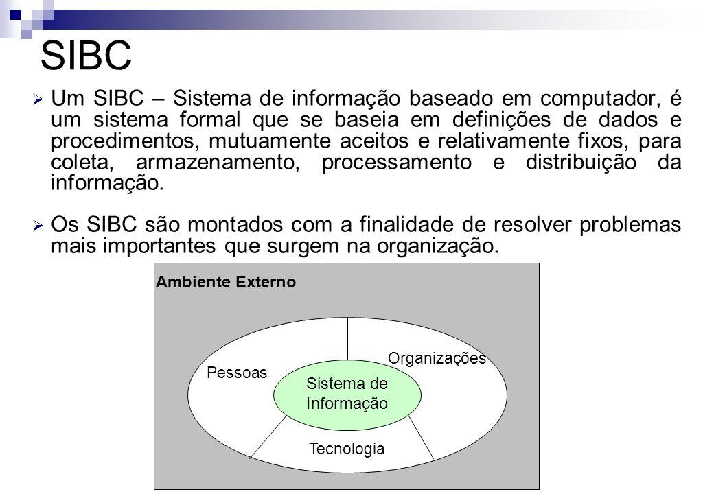 Um SIBC – Sistema de informação baseado em computador, é um sistema formal que se baseia em definições de dados e procedimentos, mutuamente aceitos e