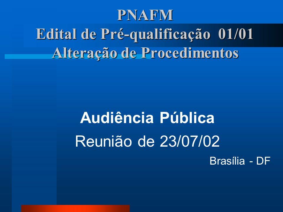 Roteiro Abertura PNAFM - Situação Atual Pré-qualificação - Procedimentos de Teste e Exemplos de Resultados Pré-qualificação de CSA - Situação Atual Comentários e sugestões Encerramento