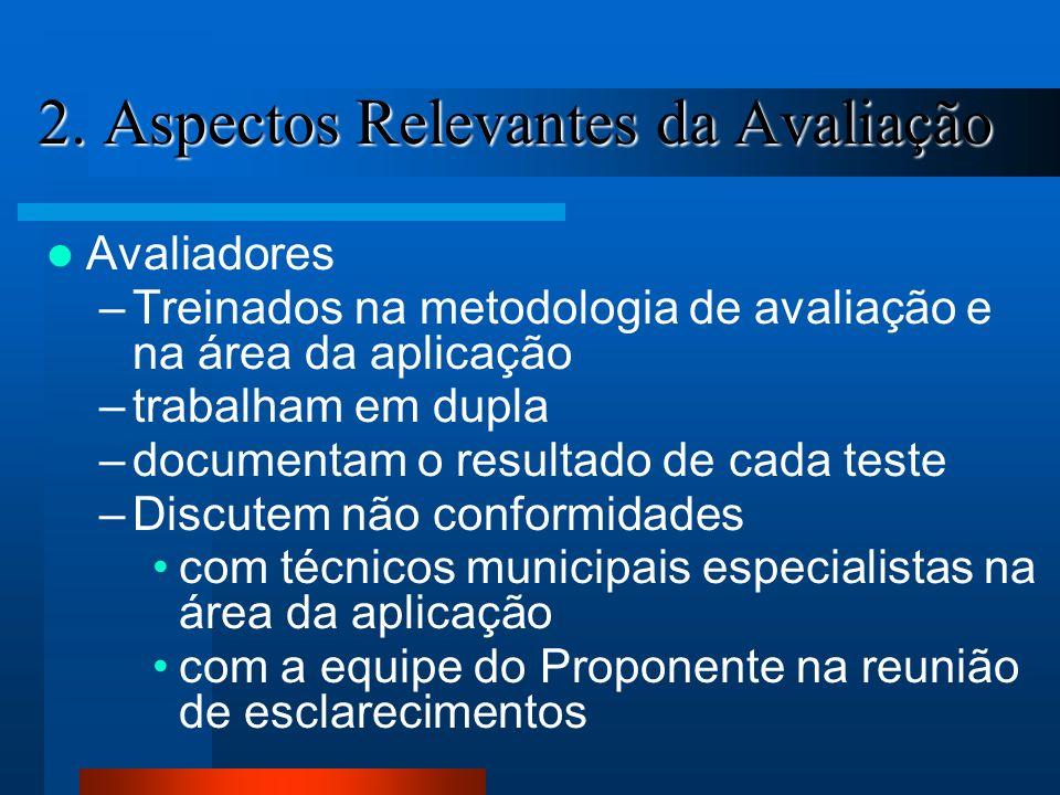 2. Aspectos Relevantes da Avaliação Avaliadores –Treinados na metodologia de avaliação e na área da aplicação –trabalham em dupla –documentam o result