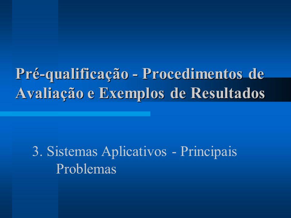 Pré-qualificação - Procedimentos de Avaliação e Exemplos de Resultados 3. Sistemas Aplicativos - Principais Problemas