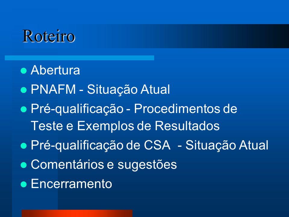 Roteiro Abertura PNAFM - Situação Atual Pré-qualificação - Procedimentos de Teste e Exemplos de Resultados Pré-qualificação de CSA - Situação Atual Co