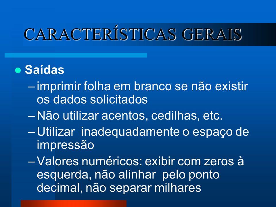 CARACTERÍSTICAS GERAIS Saídas –imprimir folha em branco se não existir os dados solicitados –Não utilizar acentos, cedilhas, etc. –Utilizar inadequada