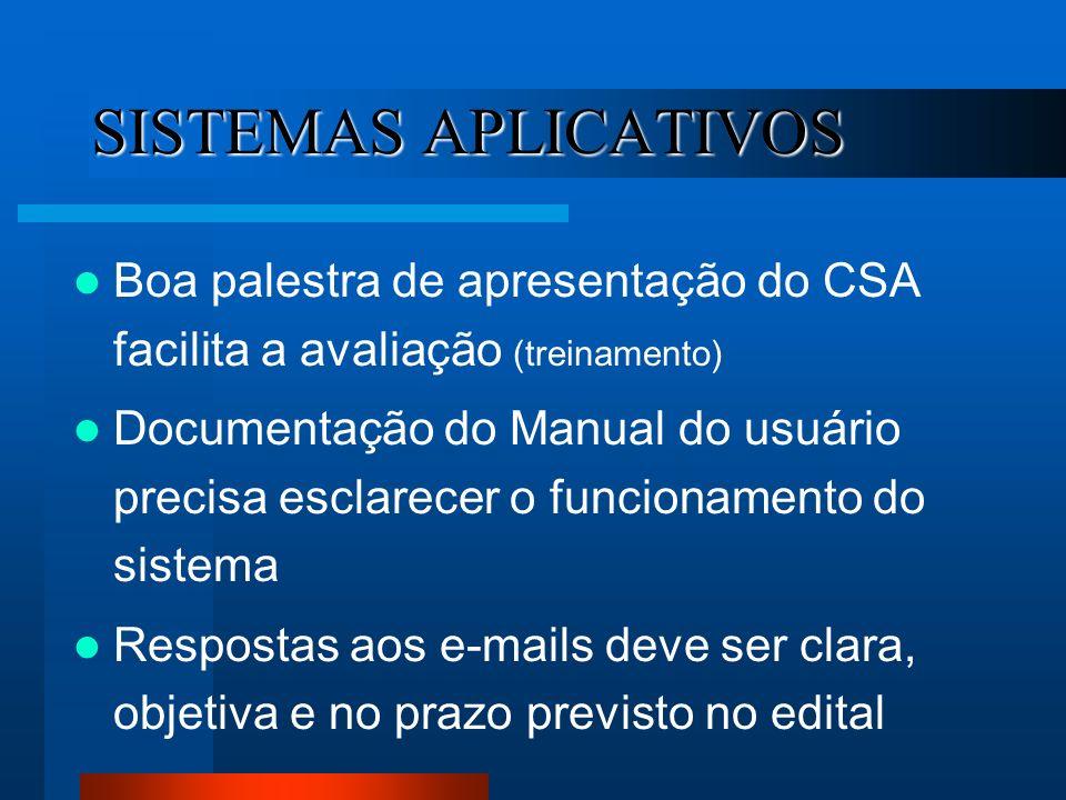 SISTEMAS APLICATIVOS Boa palestra de apresentação do CSA facilita a avaliação (treinamento) Documentação do Manual do usuário precisa esclarecer o fun