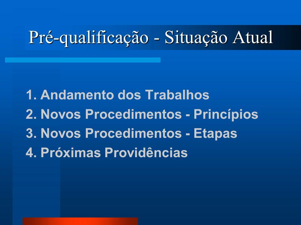 Pré-qualificação - Situação Atual 1. Andamento dos Trabalhos 2. Novos Procedimentos - Princípios 3. Novos Procedimentos - Etapas 4. Próximas Providênc