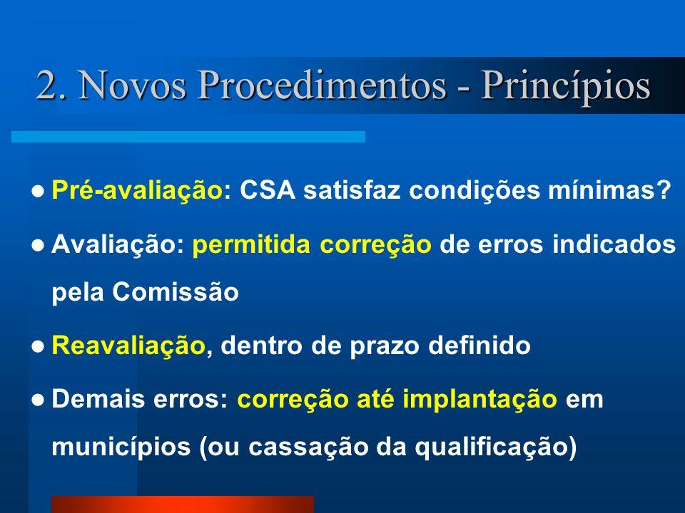 2. Novos Procedimentos - Princípios Pré-avaliação: CSA satisfaz condições mínimas? Avaliação: permitida correção de erros indicados pela Comissão Reav