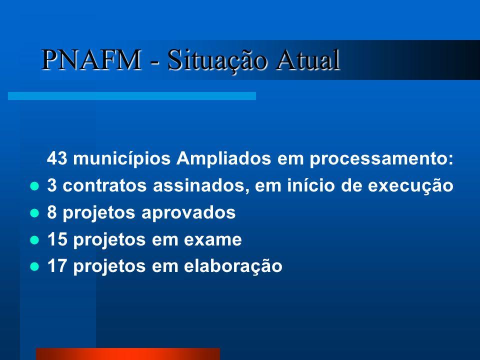 PNAFM - Situação Atual 43 municípios Ampliados em processamento: 3 contratos assinados, em início de execução 8 projetos aprovados 15 projetos em exam