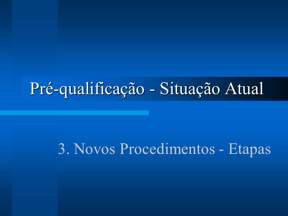 Pré-qualificação - Situação Atual 3. Novos Procedimentos - Etapas