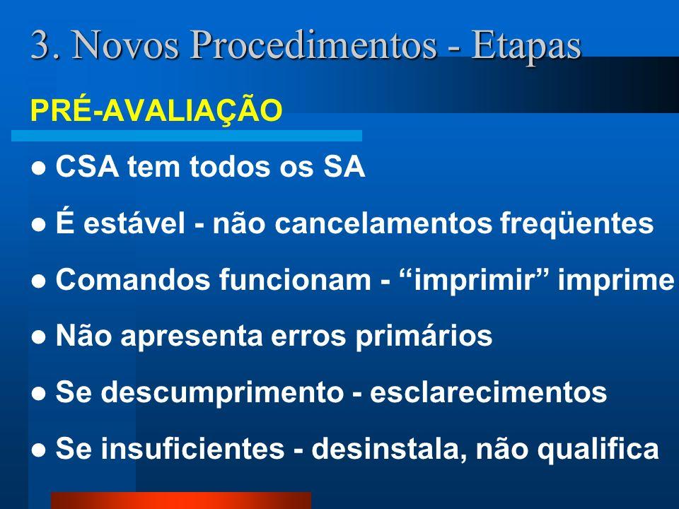 3. Novos Procedimentos - Etapas PRÉ-AVALIAÇÃO CSA tem todos os SA É estável - não cancelamentos freqüentes Comandos funcionam - imprimir imprime Não a