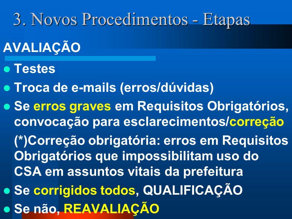 3. Novos Procedimentos - Etapas AVALIAÇÃO Testes Troca de e-mails (erros/dúvidas) Se erros graves em Requisitos Obrigatórios, convocação para esclarec