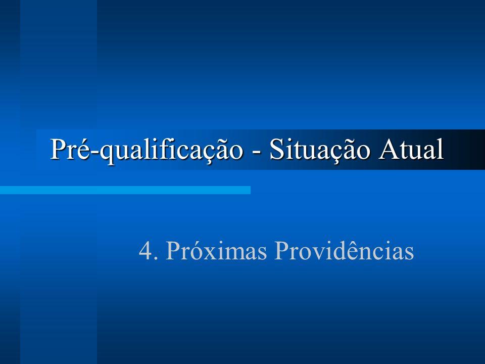 Pré-qualificação - Situação Atual 4. Próximas Providências
