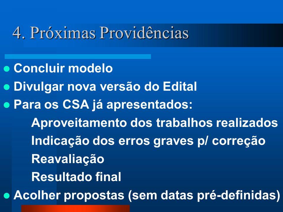 Concluir modelo Divulgar nova versão do Edital Para os CSA já apresentados: Aproveitamento dos trabalhos realizados Indicação dos erros graves p/ corr
