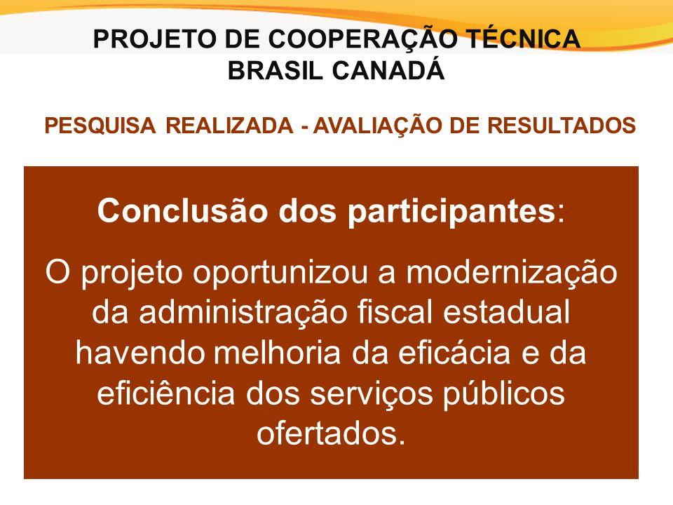 Conclusão dos participantes: O projeto oportunizou a modernização da administração fiscal estadual havendo melhoria da eficácia e da eficiência dos serviços públicos ofertados.