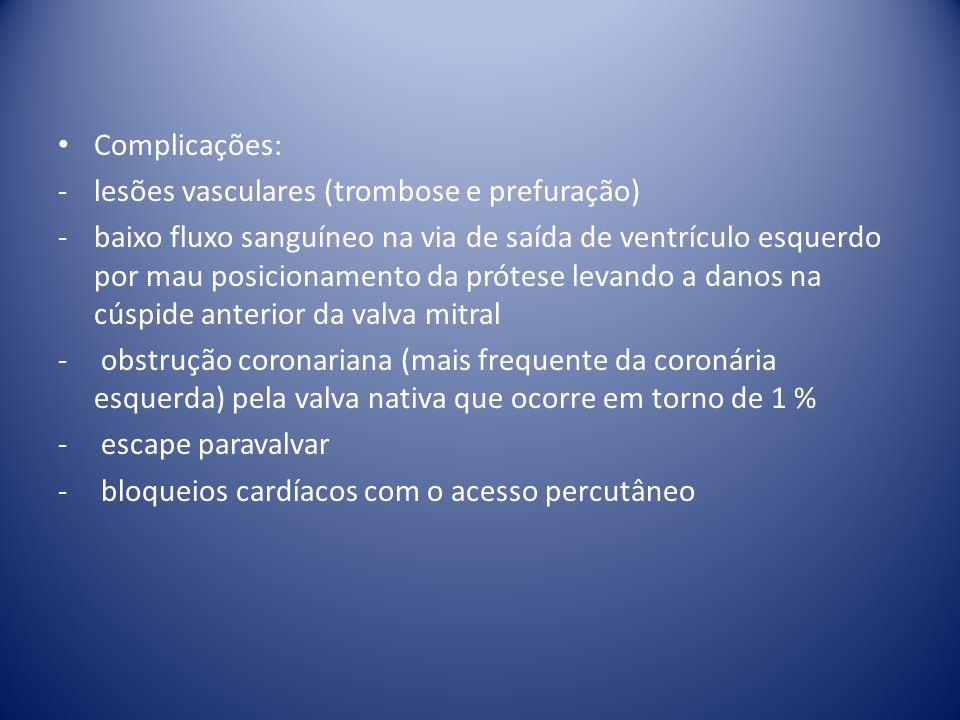Complicações: -lesões vasculares (trombose e prefuração) -baixo fluxo sanguíneo na via de saída de ventrículo esquerdo por mau posicionamento da próte