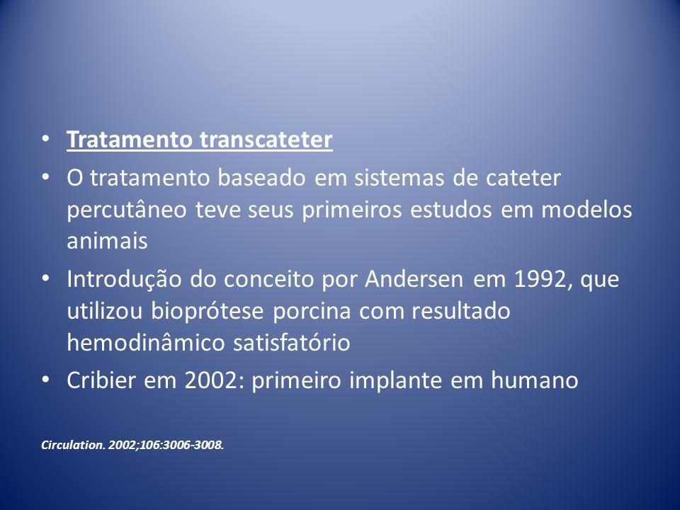 Tratamento transcateter O tratamento baseado em sistemas de cateter percutâneo teve seus primeiros estudos em modelos animais Introdução do conceito p
