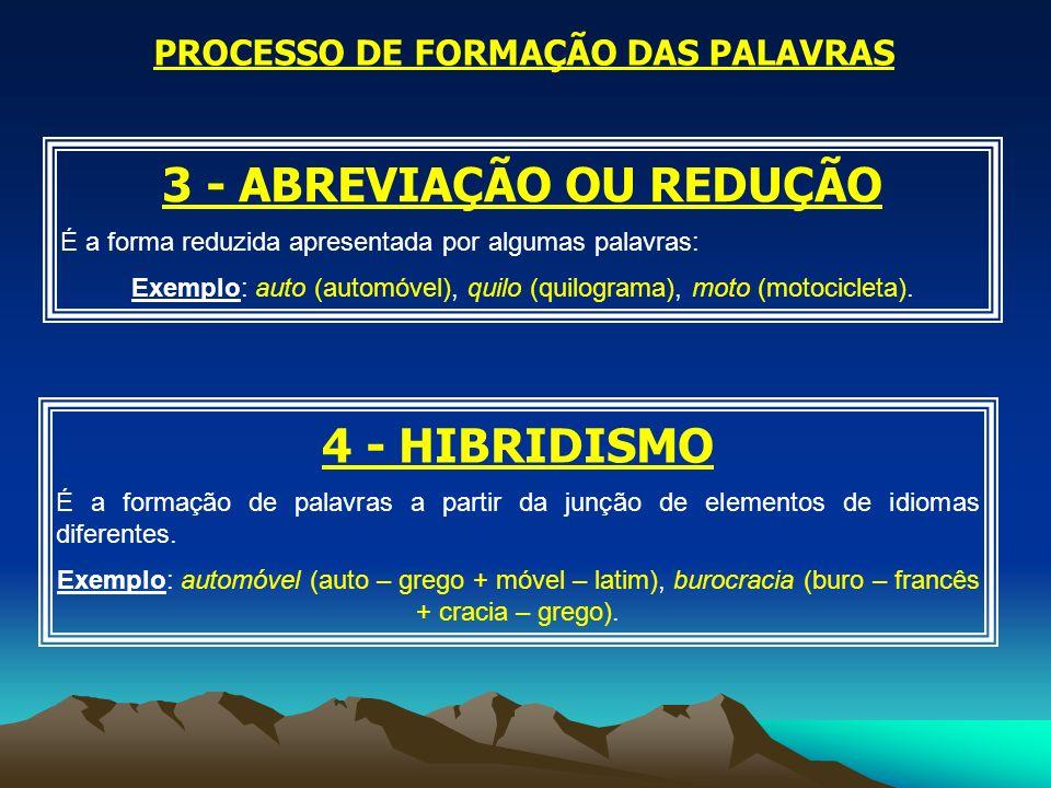 PROCESSO DE FORMAÇÃO DAS PALAVRAS 3 - ABREVIAÇÃO OU REDUÇÃO É a forma reduzida apresentada por algumas palavras: Exemplo: auto (automóvel), quilo (qui