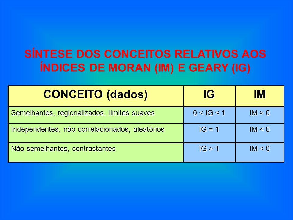 IM < 0 IG > 1 Não semelhantes, contrastantes IM < 0 IG = 1 Independentes, não correlacionados, aleatórios IM > 0 0 < IG < 1 Semelhantes, regionalizado