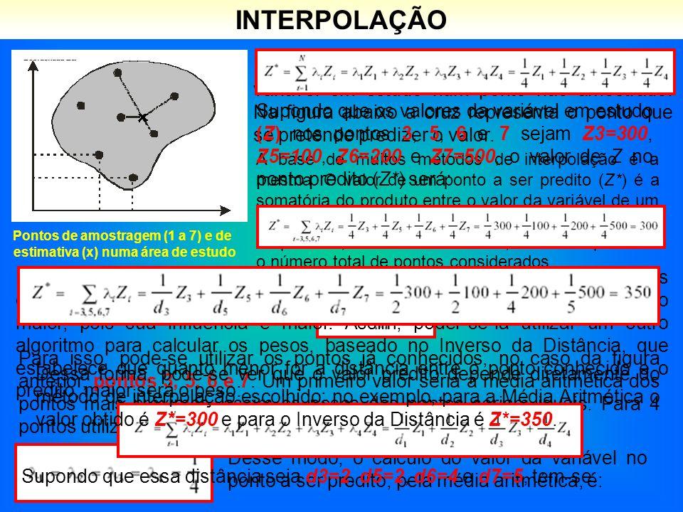 INTERPOLAÇÃO Pontos de amostragem (1 a 7) e de estimativa (x) numa área de estudo Interpolar é predizer (ou estimar) o valor da variável em estudo num