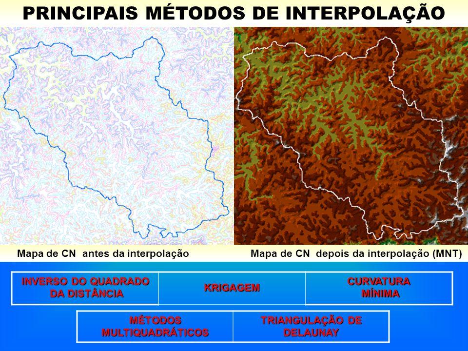PRINCIPAIS MÉTODOS DE INTERPOLAÇÃO Mapa de CN antes da interpolação Mapa de CN depois da interpolação (MNT) INVERSO DO QUADRADO DA DISTÂNCIA DA DISTÂN