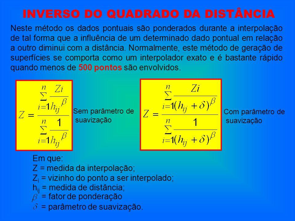 Neste método os dados pontuais são ponderados durante a interpolação de tal forma que a influência de um determinado dado pontual em relação a outro d