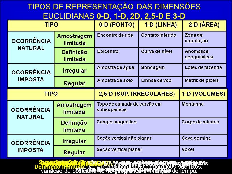 TIPOS DE REPRESENTAÇÃO DAS DIMENSÕES EUCLIDIANAS 0-D, 1-D, 2D, 2,5-D E 3-D TIPO 0-D (PONTO) 1-D (LINHA) 2-D (ÁREA) OCORRÊNCIA NATURAL Amostragem limit