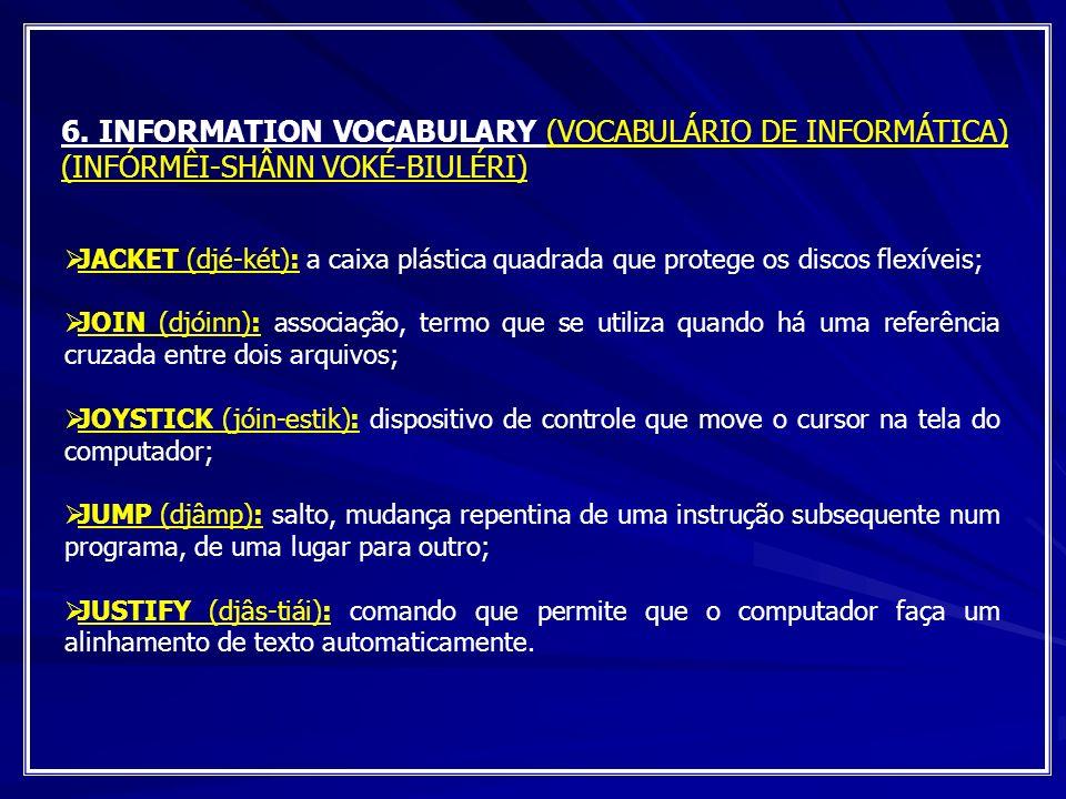 6. INFORMATION VOCABULARY (VOCABULÁRIO DE INFORMÁTICA) (INFÓRMÊI-SHÂNN VOKÉ-BIULÉRI) JACKET (djé-két): a caixa plástica quadrada que protege os discos