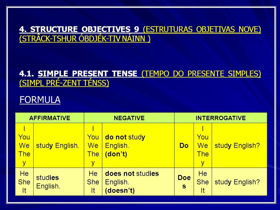 4. STRUCTURE OBJECTIVES 9 (ESTRUTURAS OBJETIVAS NOVE) (STRÂCK-TSHUR ÓBDJÉK-TIV NÁINN ) 4.1. SIMPLE PRESENT TENSE (TEMPO DO PRESENTE SIMPLES) (SIMPL PR