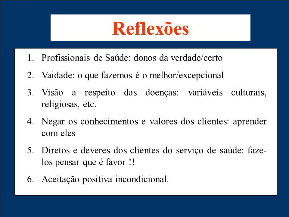 1.Profissionais de Saúde: donos da verdade/certo 2.Vaidade: o que fazemos é o melhor/excepcional 3.Visão a respeito das doenças: variáveis culturais,