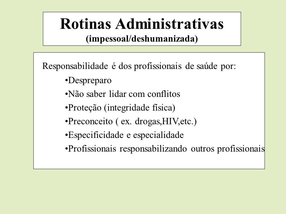 Rotinas Administrativas (impessoal/deshumanizada) Responsabilidade é dos profissionais de saúde por: Despreparo Não saber lidar com conflitos Proteção
