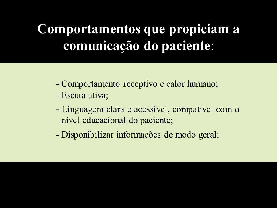 - Comportamento receptivo e calor humano; - Escuta ativa; - Linguagem clara e acessível, compatível com o nível educacional do paciente; - Disponibili