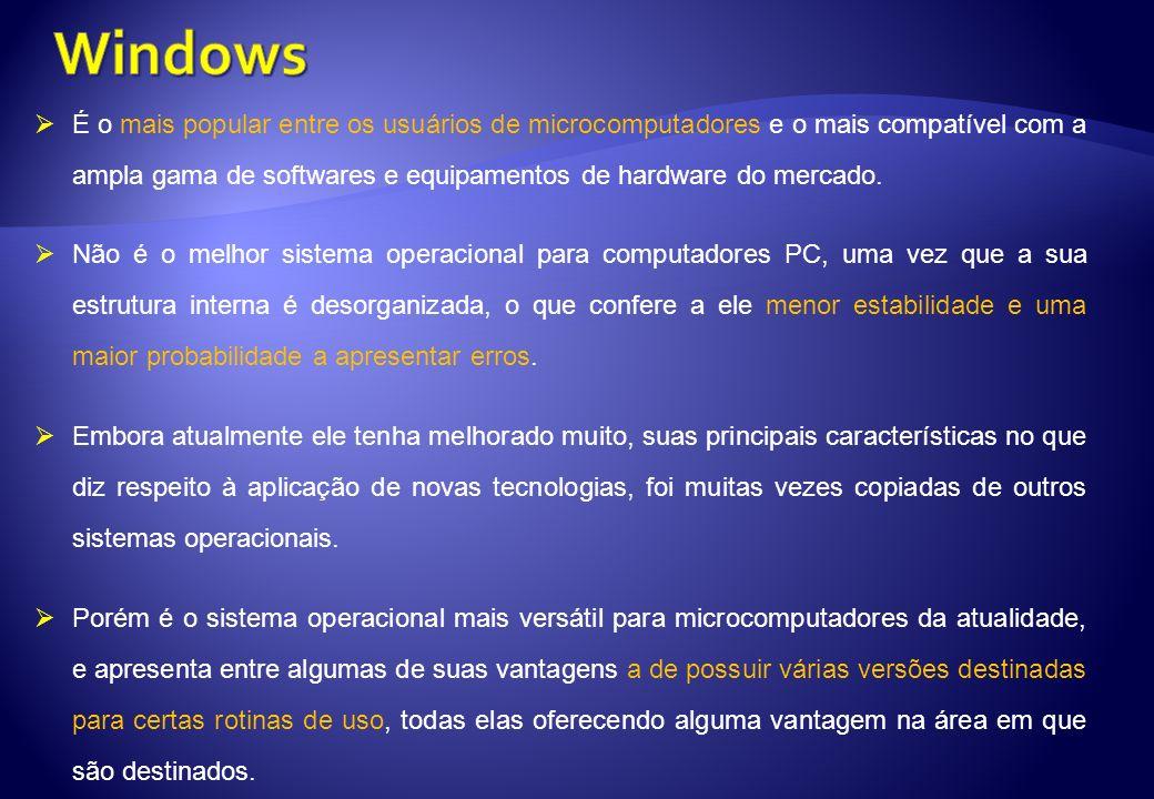 É o mais popular entre os usuários de microcomputadores e o mais compatível com a ampla gama de softwares e equipamentos de hardware do mercado. Não é