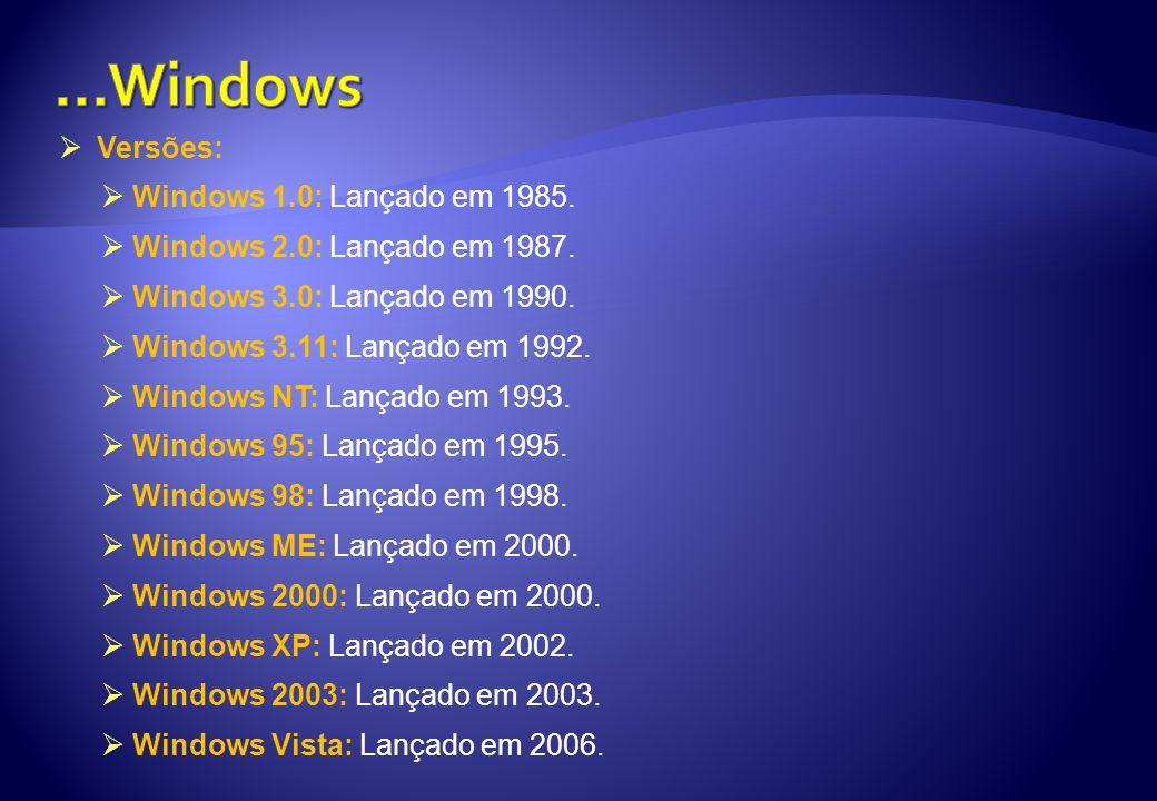 Versões: Windows 1.0: Lançado em 1985. Windows 2.0: Lançado em 1987. Windows 3.0: Lançado em 1990. Windows 3.11: Lançado em 1992. Windows NT: Lançado