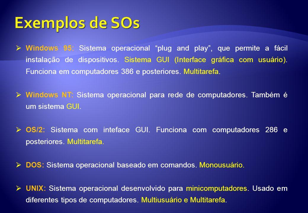 Windows 95: Sistema operacional plug and play, que permite a fácil instalação de dispositivos. Sistema GUI (Interface gráfica com usuário). Funciona e