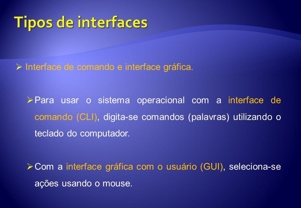Interface de comando e interface gráfica. Para usar o sistema operacional com a interface de comando (CLI), digita-se comandos (palavras) utilizando o