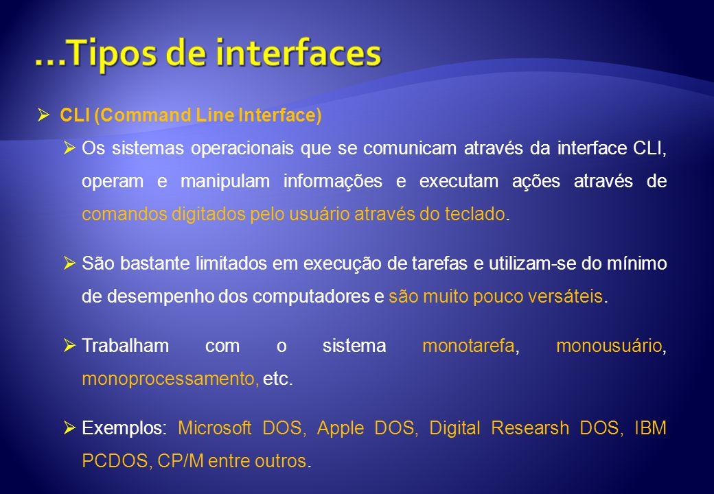 CLI (Command Line Interface) Os sistemas operacionais que se comunicam através da interface CLI, operam e manipulam informações e executam ações atrav