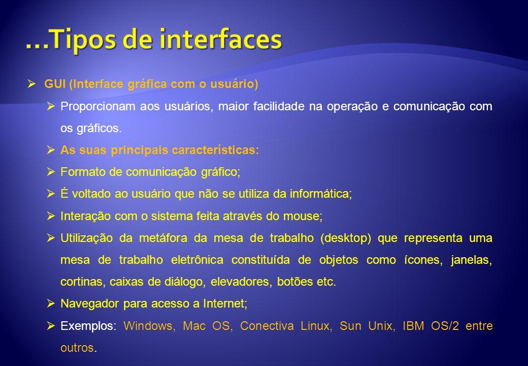 GUI (Interface gráfica com o usuário) Proporcionam aos usuários, maior facilidade na operação e comunicação com os gráficos. As suas principais caract
