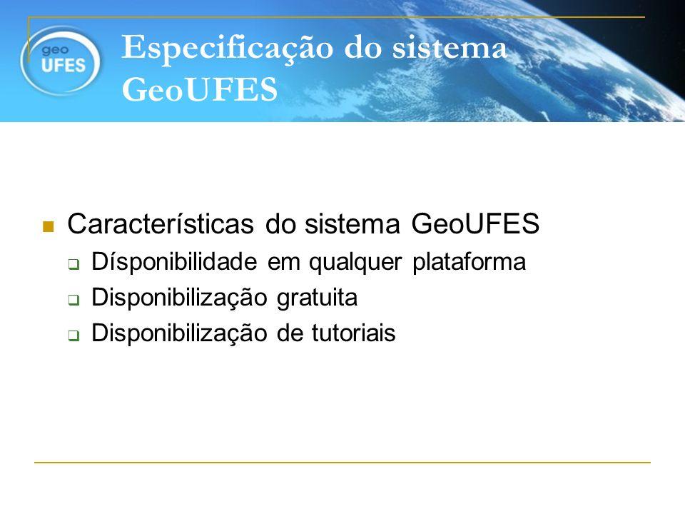 Especificação do sistema GeoUFES Características do sistema GeoUFES Dísponibilidade em qualquer plataforma Disponibilização gratuita Disponibilização
