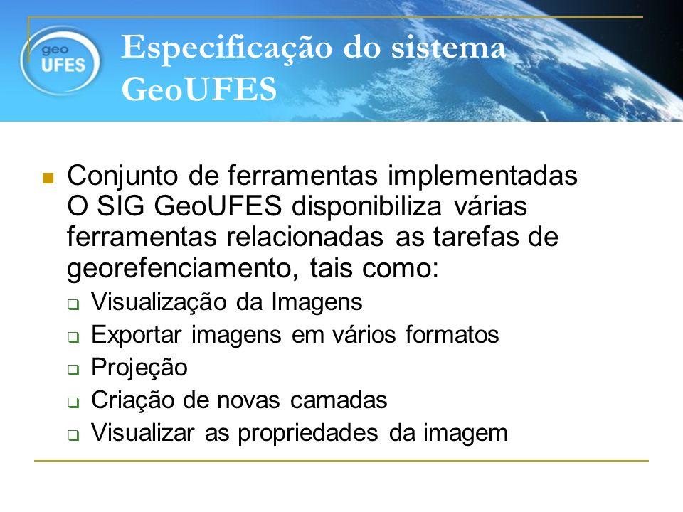 Especificação do sistema GeoUFES Conjunto de ferramentas implementadas O SIG GeoUFES disponibiliza várias ferramentas relacionadas as tarefas de geore
