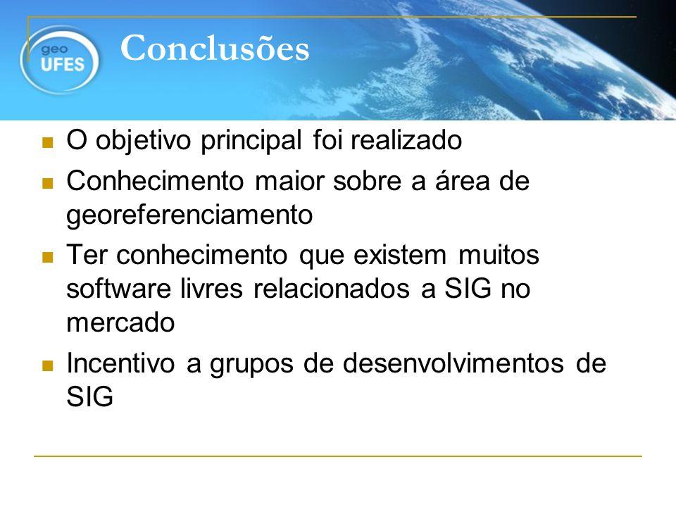 Conclusões O objetivo principal foi realizado Conhecimento maior sobre a área de georeferenciamento Ter conhecimento que existem muitos software livre