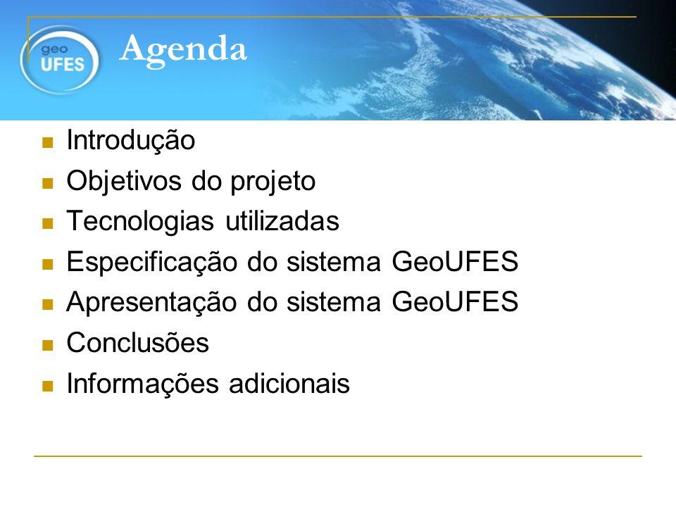 Agenda Introdução Objetivos do projeto Tecnologias utilizadas Especificação do sistema GeoUFES Apresentação do sistema GeoUFES Conclusões Informações